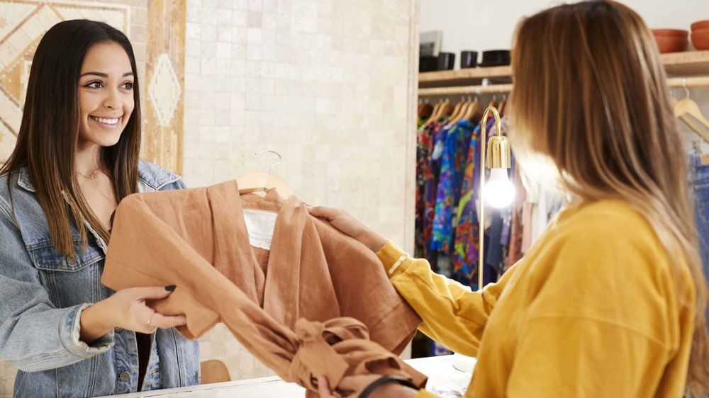 Retail associate and customer