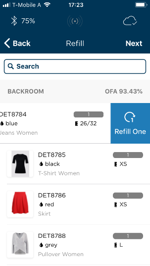 Replenishement in the Detego Mobile App